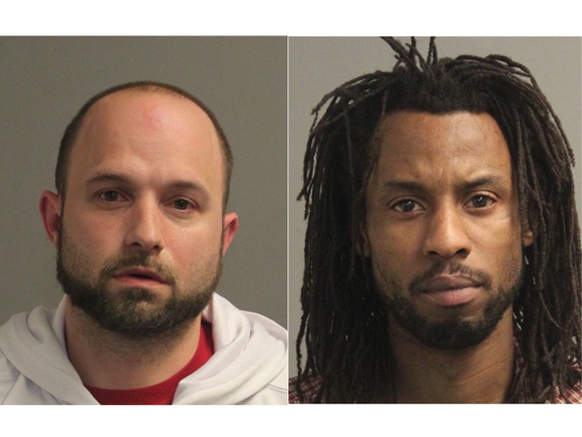 Floyd Lee Buchanan (left),  and Troy Montgomery Cornish. The pair was arrested Friday in Maryland while allegedly camcording <em>Fate of the Furious.</em>