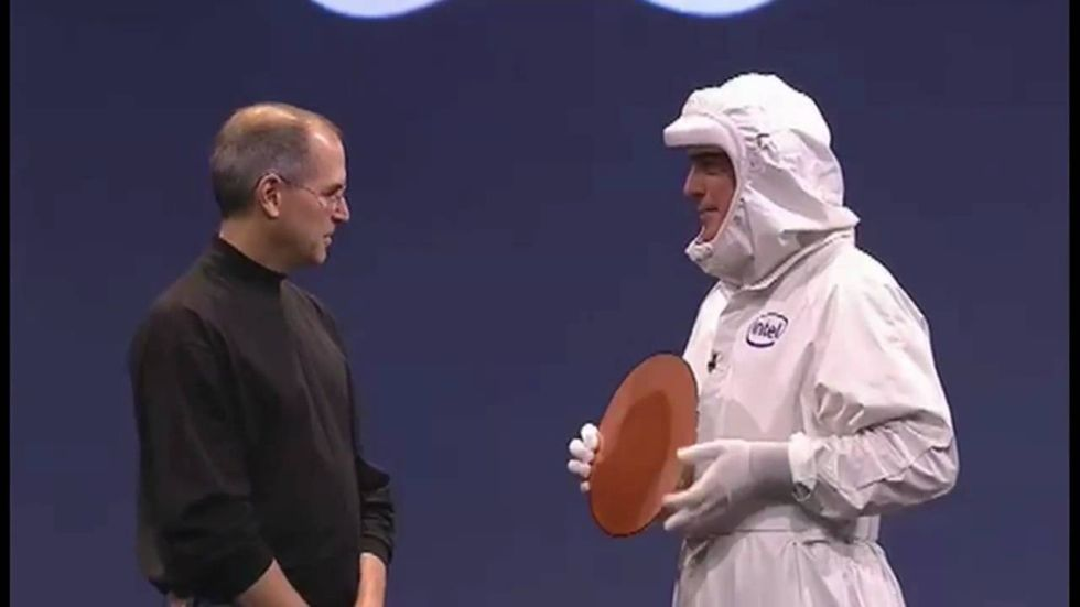 In a silly bit of theater, then-newly minted Intel CEO Paul Otellini hands Steve Jobs a silicon wafer onstage at WWDC in 2005.