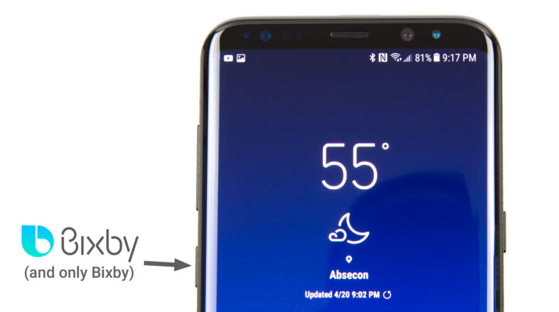 The hardware Bixby button on the Galaxy S8.
