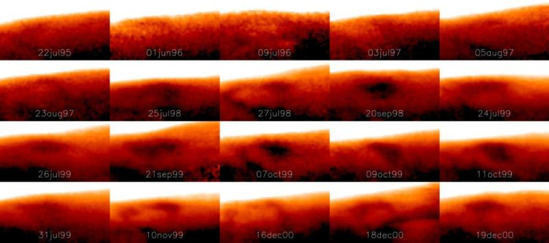 This image shows how the Great Cold Spot (the darker, oval feature) changes dramatically in shape and size on different days.