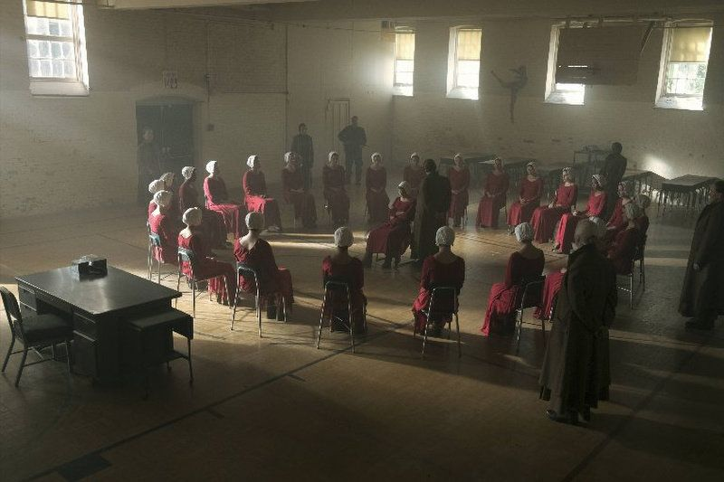 At a reeducation camp, the handmaids are taught that only the state can determine who they should have sex with.