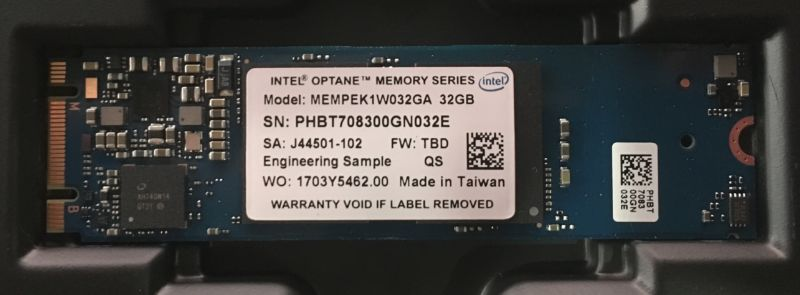 Intel Optane Memory. Engineering sample, but we hope it's the same as retail hardware.