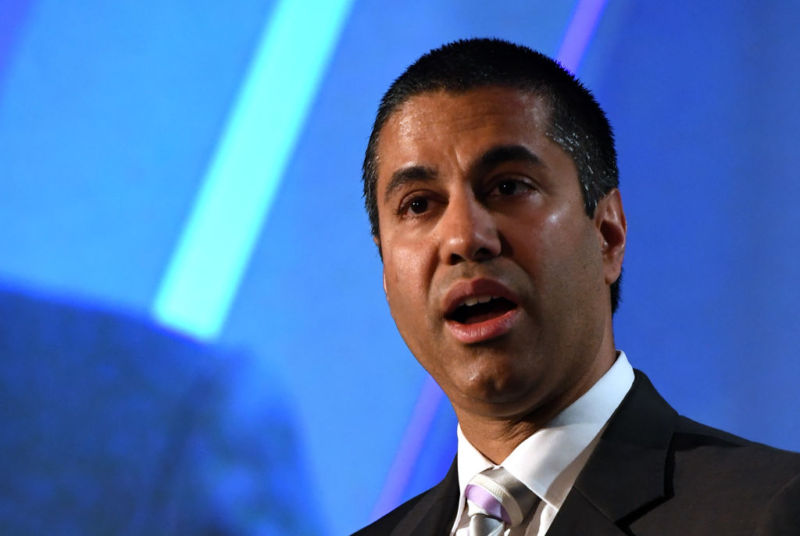 FCC Chairman Ajit Pai speaks during the National Association of Broadcasters conference in Las Vegas on April 25, 2017.