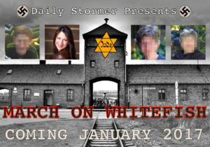 "Graphic promoting the Daily Stormer's armed ""March on Whitefish."""