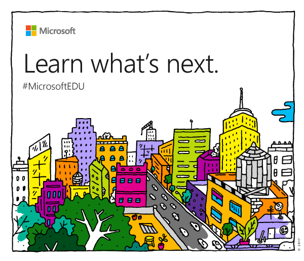 Microsoft's invitation with its educational hashtag.