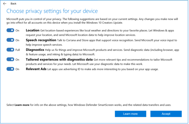 The privacy settings that people upgrading to the Creators Update will see.