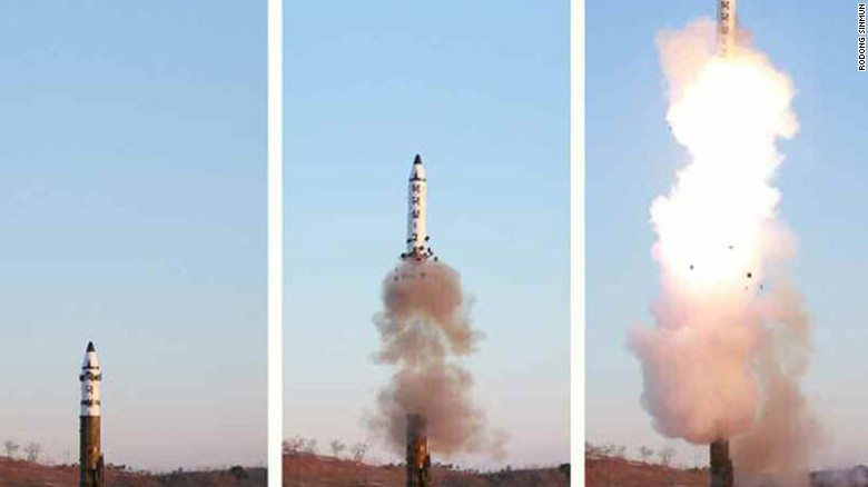 North Korean images of a Pukguksong-2 missile launch in February. Another test of the improved solid-fueled missile was conducted this morning.