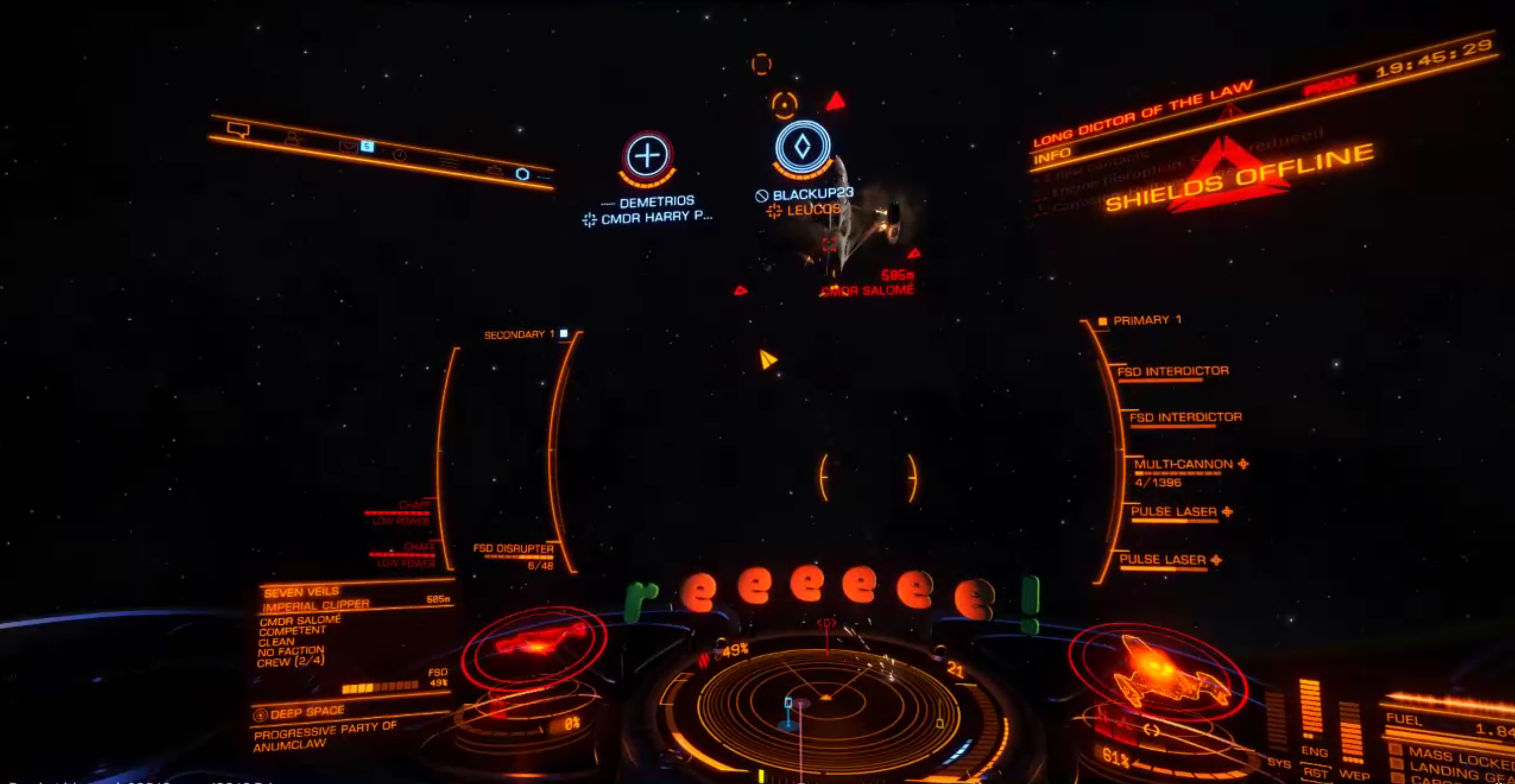 A screengrab from Cmdr. Harry Potter's Twitch stream, seconds before Salomé's ship explodes.