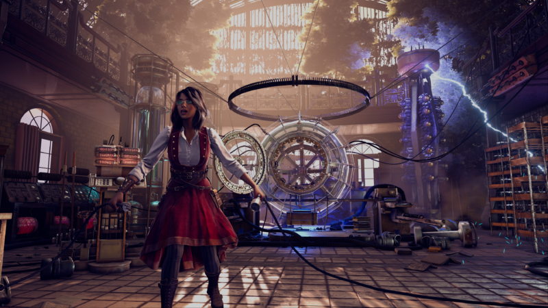This scientist in her steampunk laboratory and time machine in the background brings to mind <em>BioShock Infinite</em>'s Elizabeth. It's a shame this is just a tech demo and not a real game.