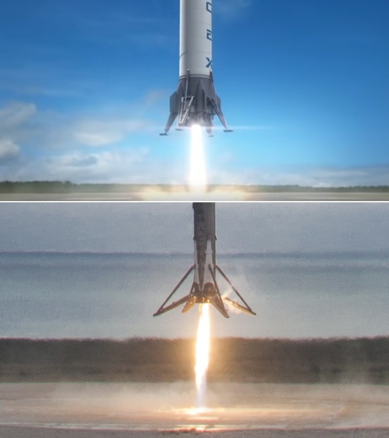A simulated rocket landing in 2011, top, and the real thing earlier this year.