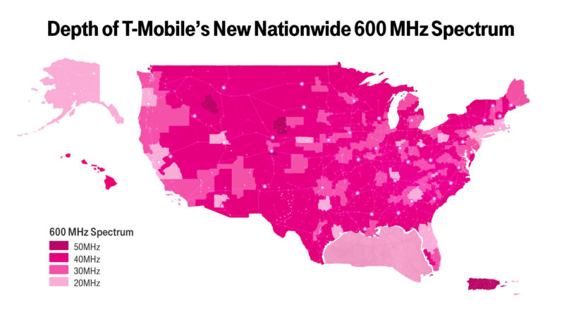 A US map showing T-Mobile's nationwide 600MHz spectrum.