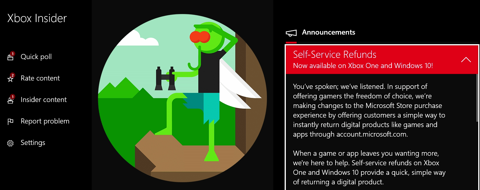 The original announcement, as captured on Sam Machkovech's own Xbox One S console. We're going to assume this funky clip-art is actually a render of Xbox's new mascot, Refund Fly. Eat your heart out, Sonic.