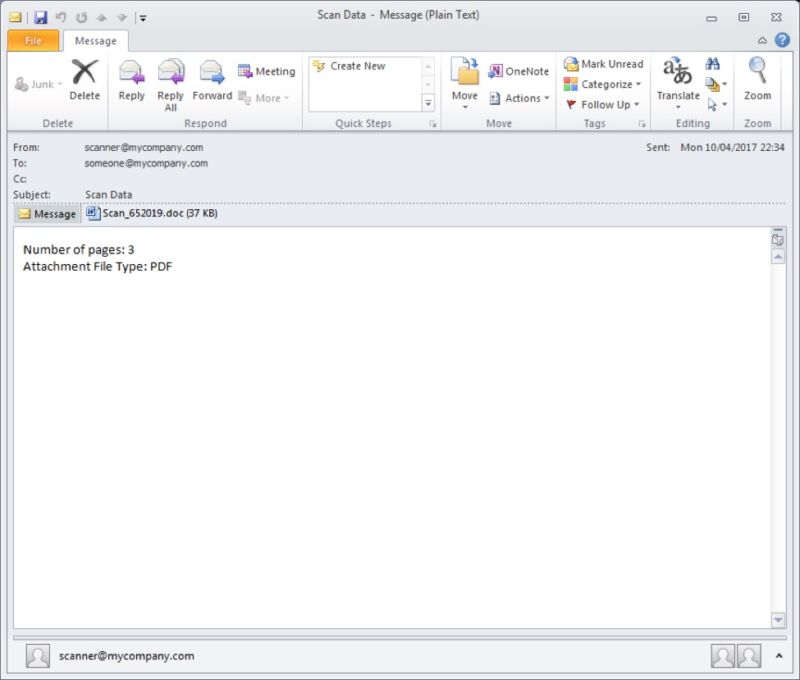 A sample e-mail from Dridex campaign exploiting Microsoft Word zero-day.