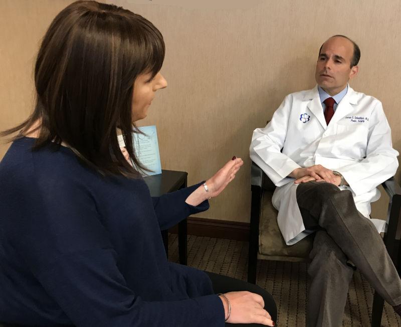 Gearah Goldstein speaks with her plastic surgeon, Dr. Loren Schechter, about her gender confirmation surgery.