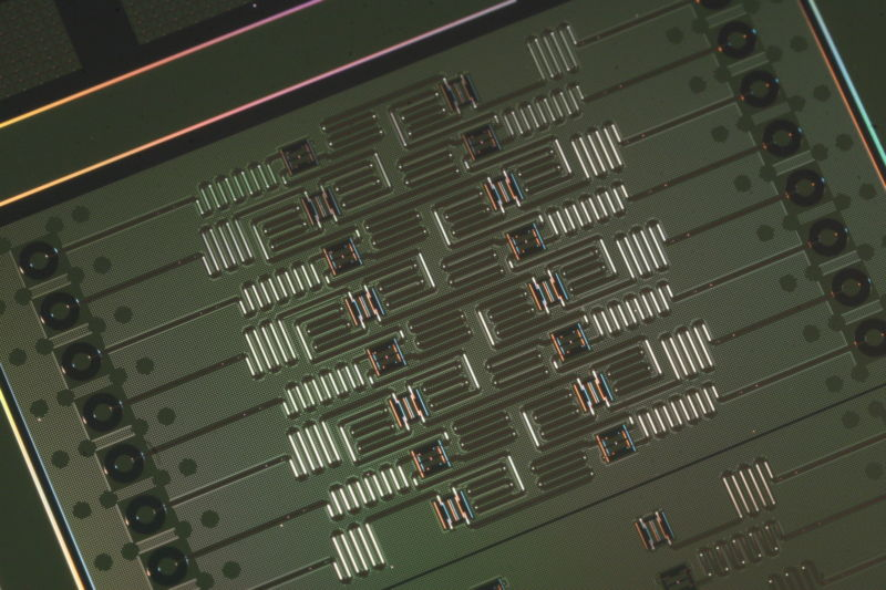 Extreme closeup of computer chip.