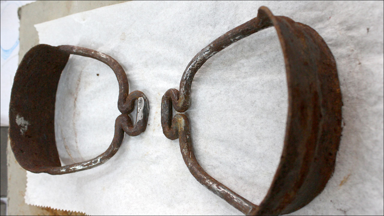 This pair of 1,100-year-old metal stirrups was unearthed from a Mongolian woman's grave in 2016. They were part of a well-preserved saddle with reinforcements that would have allowed the rider unprecedented mobility.