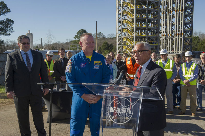 Then-NASA Administrator Charles Bolden, right, visits the newest member of Marshall's skyline—Test Stand 4693—on December 14, 2015, with astronaut Butch Wilmore, center.
