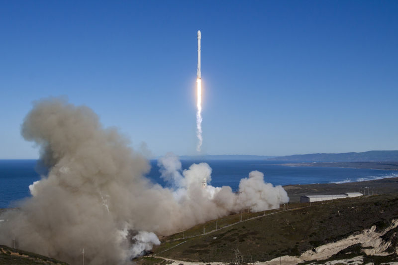 A Falcon 9 rocket launches from Vandenberg Air Force Base in California in January, 2017.