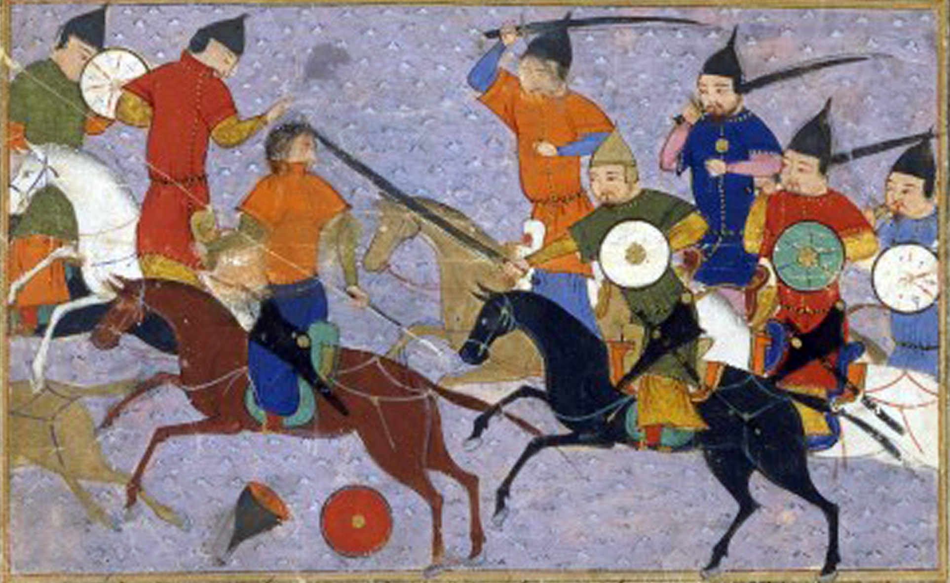 This is a representation of a battle between Mongols and the Chinese, recorded in 1211 in the <em>Jami' al-tawarikh</em>, by Rashid al-Din. Note the Mongols standing in their saddles.