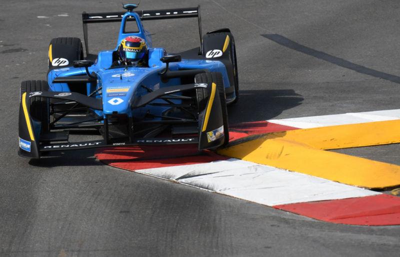 Renault E.Dams Formula E Team's Swiss driver Sebastien Buemi in the Monaco Formula E Grand Prix at the Circuit de Monaco.