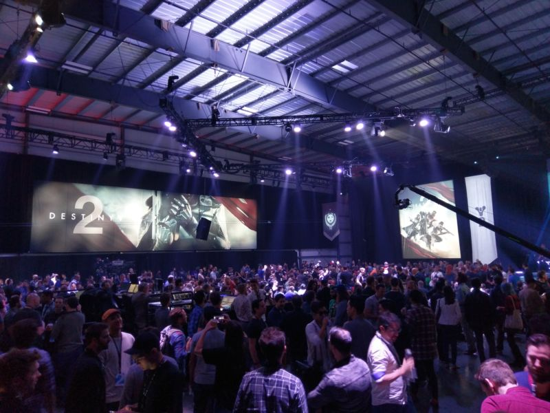 Activision crammed hundreds of games writers and streamers into a hangar just outside of Los Angeles city limits for its Destiny 2 gameplay premiere event.