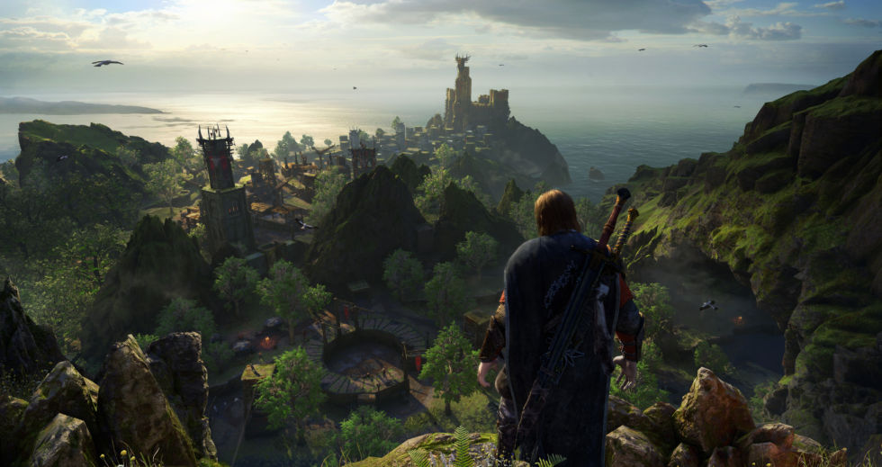 Monolith was not ready to show any outland exploration in <em>Shadow of War</em> just yet. Thus, I have no context for exactly how this kind of pretty vista may appear in the game.