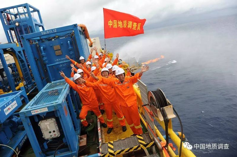 A photo from the China Geological Survey. The researchers extracted methane hydrate from the bottom of the South China Sea.