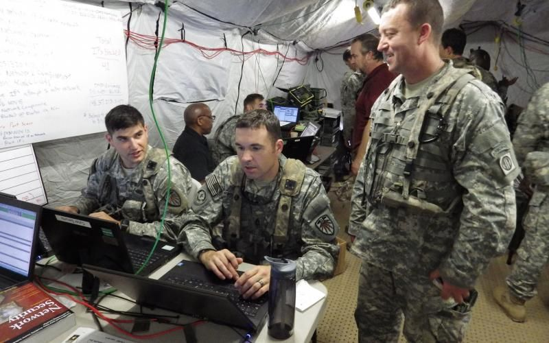 US Army Cyber Protection Brigade soldiers responding to a simulated cyber attack on the 1st Brigade Combat Team, 82nd Airborne Division, during its rotation at the Fort Polk, Louisiana, Joint Readiness Training Center. The military needs more network defenders, as well as people with skills that could be used offensively.