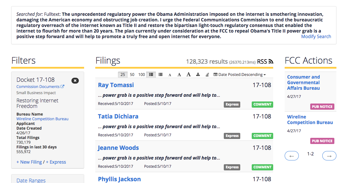 The Fcc Has Received 128 000 Identical Anti Net Neutrality Comments