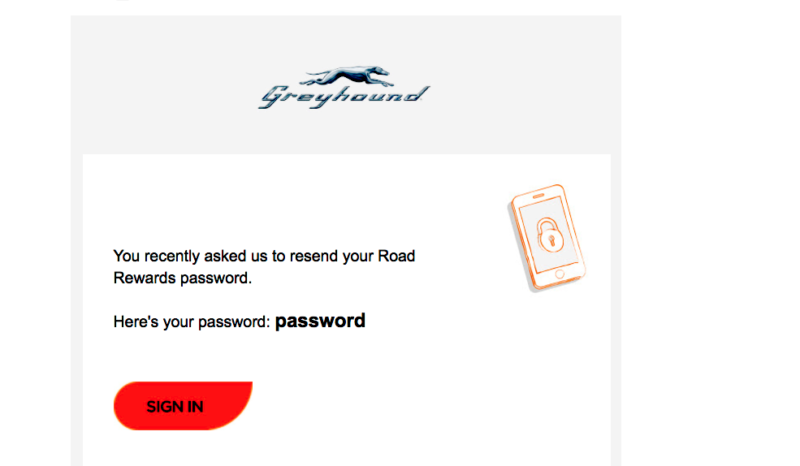 This is what Greyhound.com e-mails you when you forget your password.