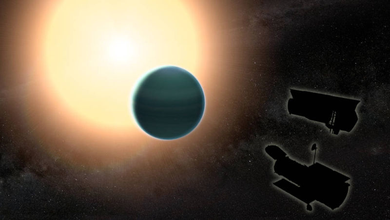 An artist's conception of planet HAT-P-26b, along with the outlines of the two telescopes that imaged it.