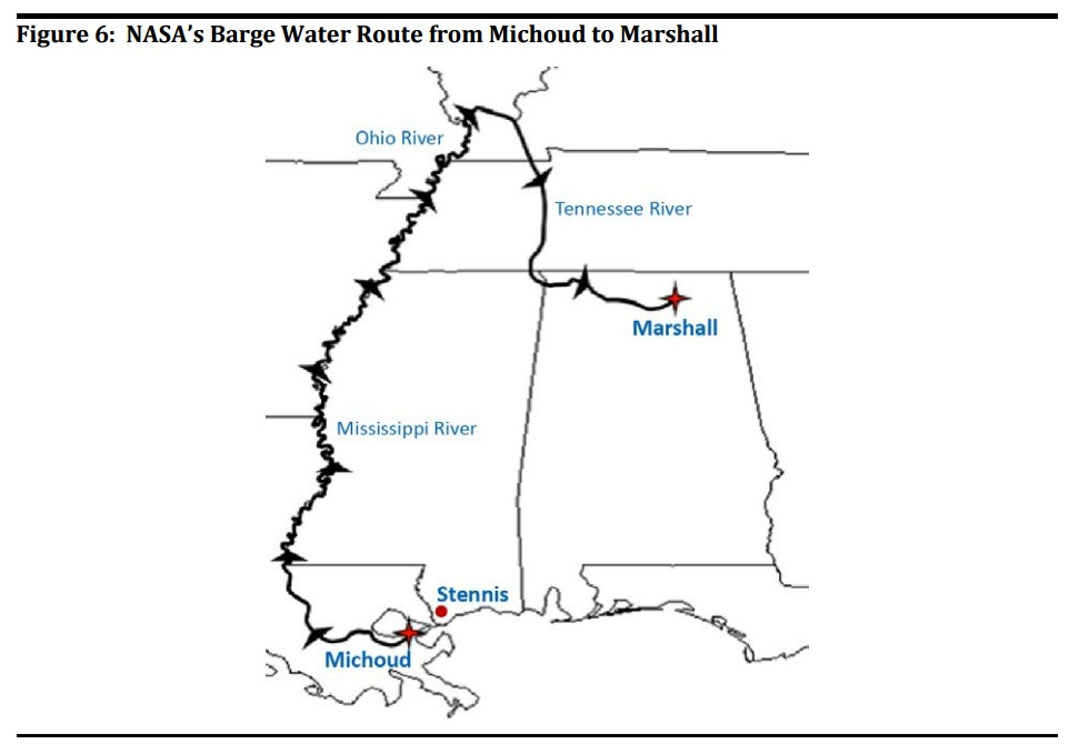 NASA's Barge Water Route from Michoud to Marshall. (Note proximity of Stennis to Michoud).