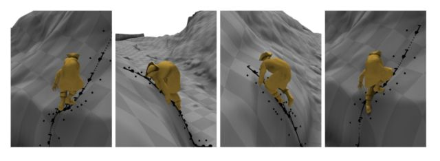"Trying to extrapolate how animation should look on steep terrain that was not specifically trained can lead to what the authors call ""bad-looking motion."""