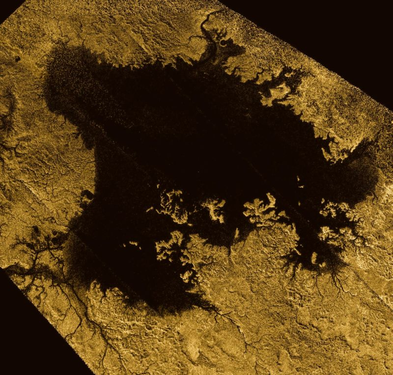 Ligeia Mare, the second-largest body of liquid hydrocarbons on Titan.