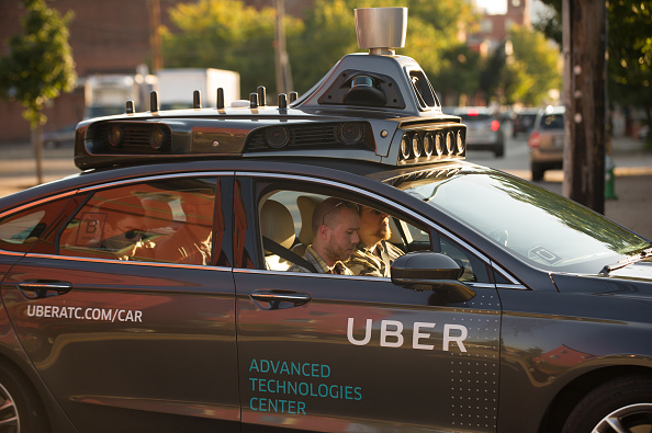 An Uber driverless Ford Fusion in Pittsburgh, Pennsylvania.