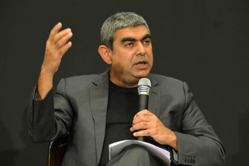Infosys CEO Vishal Sikka discussing financial results in Bangalore in April 2017.