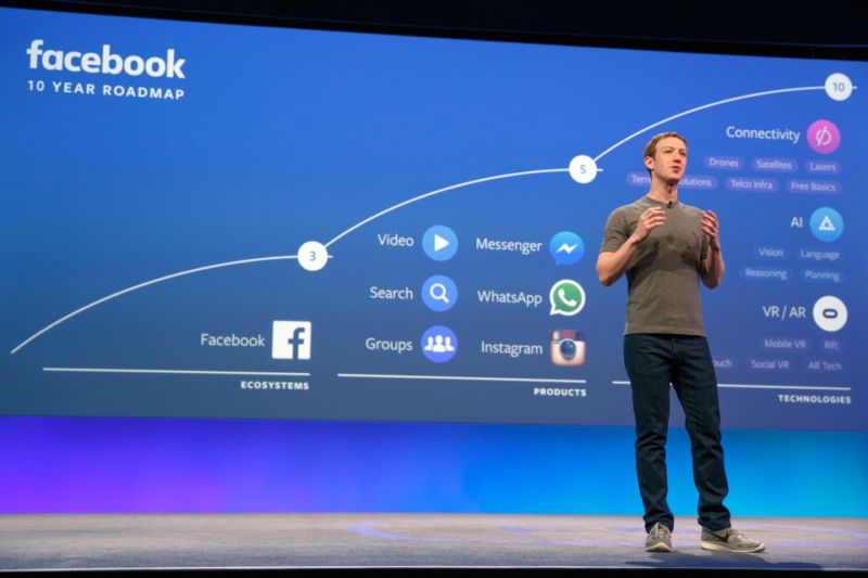 "CEO Mark Zuckerberg speaks at Facebook's 2016 ""F8"" conference."