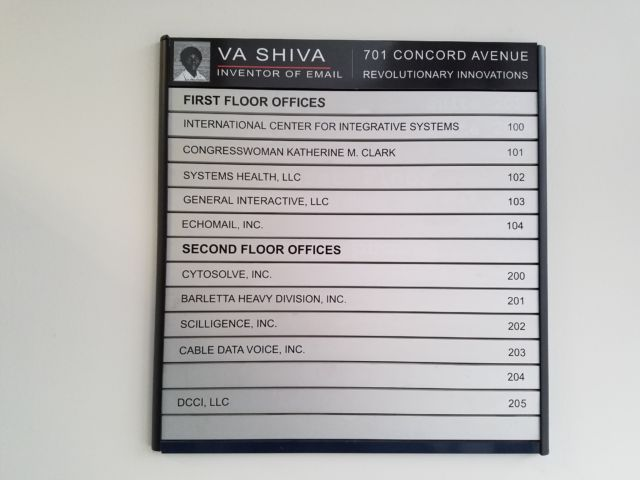 "Shiva Ayyadurai's offices in Cambridge, Massachusetts boast that he is the ""Inventor of Email."""