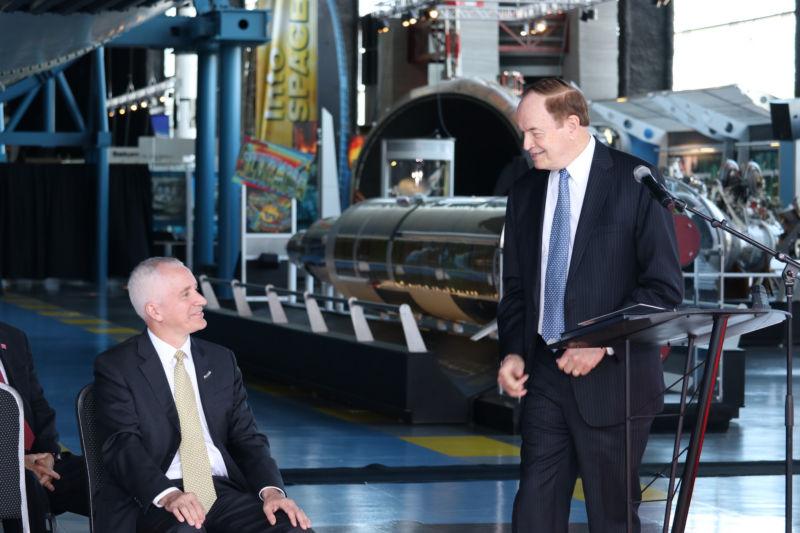 Sen. Richard Shelby, right, welcomes Blue Origin President Rob Meyerson to Huntsville, Alabama.