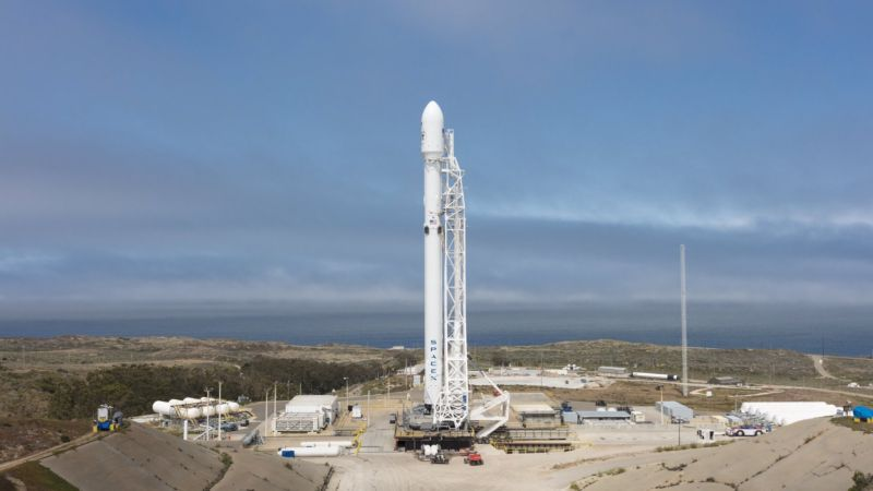 The Falcon 9 rocket on the launch pad at Vandenberg Air Force Base.
