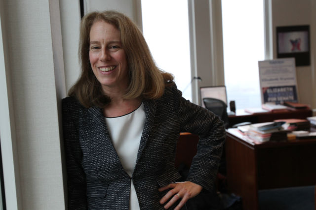 Shannon Liss-Riordan, who has brought lawsuits against Grubhub and other firms, seen here in 2012.