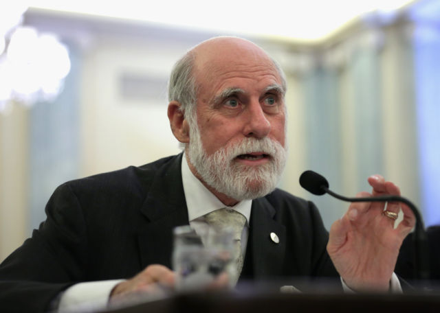 Vint Cerf, one of the godfathers of the Internet, seen here testifying before a Senate committee in 2014.