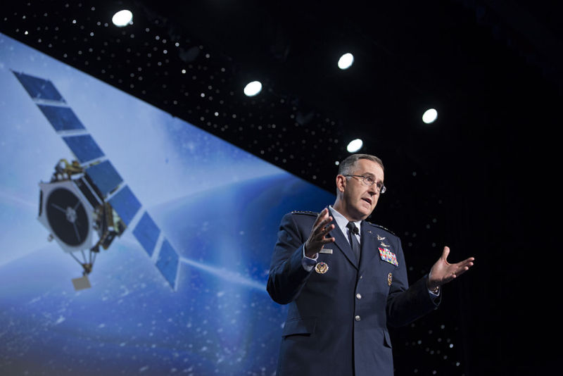 General John Hyten speaks during the 32nd Space Symposium in 2016.