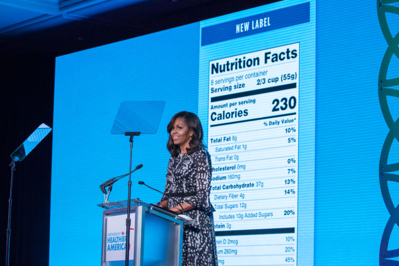 Former First Lady Michelle Obama unveiled the new, modernized Nutrition Facts Label at the Building a Healthier Future Summit.