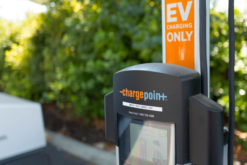 Closeup of Chargepoint electric-vehicle charger at Google headquarters in Silicon Valley (Photo by Smith Collection/Gado/Getty Images).
