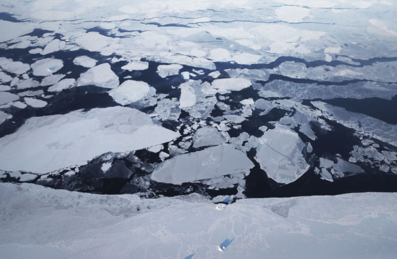 In Greenland, sea ice is seen from NASA's Operation IceBridge research aircraft in March 2017. NASA's Operation IceBridge has been studying how polar ice has evolved over the past nine years and is currently flying a set of eight-hour research flights over ice sheets and the Arctic Ocean to monitor Arctic ice loss. According to NASA scientists and the National Snow and Ice Data Center (NSIDC), sea ice in the Arctic appears to have reached its lowest maximum wintertime extent ever recorded.