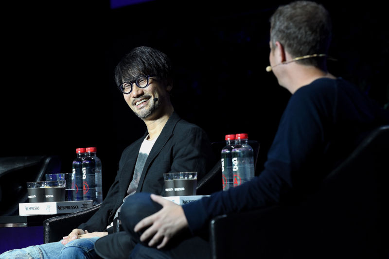 Video game designer Hideo Kojima (left) speaks at the Tribeca Games Festival during Tribeca Film Festival at Spring Studios on April 29, 2017 in New York City.