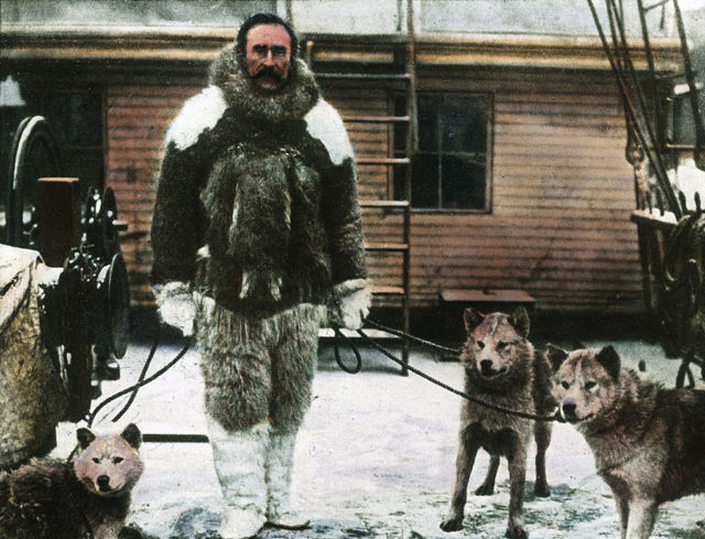 Circa 1910, explorer Robert Edwin Peary in his polar equipment while adventuring around the Arctic. (Such a journey may get a lot warmer in the next century.)