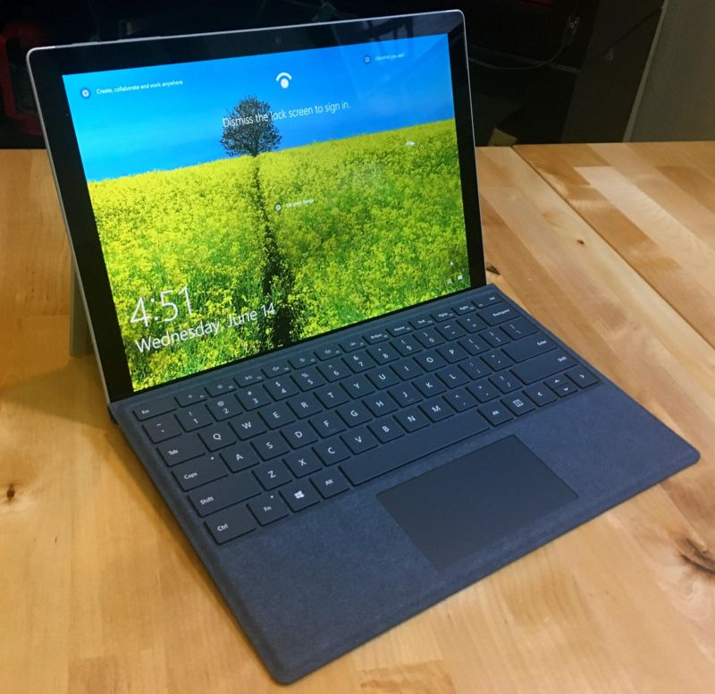 Surface Pro with a Cobalt Blue Type Cover.