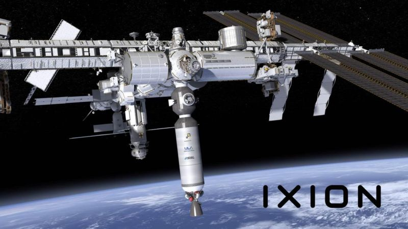 "The Ixion ""space lab"" docked to the International Space Station."